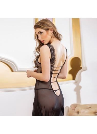 Gallipoli Kadın Pijama Gecelik String Takım Siyah